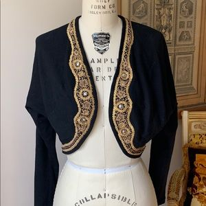 Vintage Black With Gold embroidered Bolero